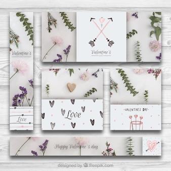 Kreative sammlung von bannern und karten für valentinstag