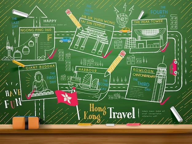 Kreative sammlung von hongkong-reiseelementen an der tafel