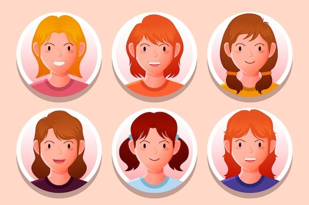 Kreative sammlung von profilsymbolen mit farbverlauf