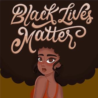 Kreative schwarze leben materie nachricht schriftzug