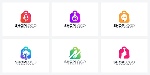 Kreative shopping-logo- oder icon-design-kollektion