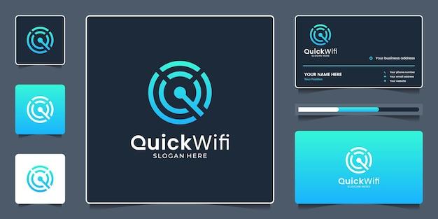 Kreative signalverbindung und initialen-buchstabe-q-logo mit geometrischem konzept sauber