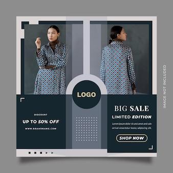 Kreative social-media-postvorlage für den modeverkauf mit kamerastil und zwei bildplatzhaltern