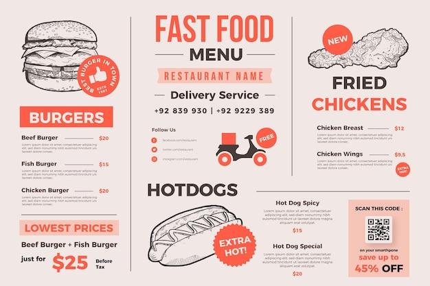 Kreative speisekarte für den digitalen gebrauch