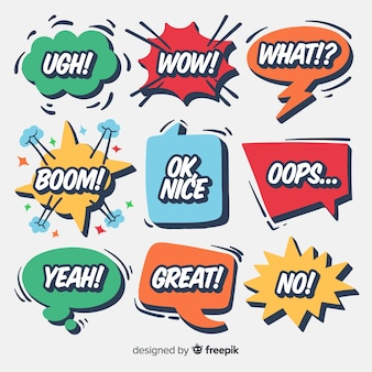 Kreative sprechblasen mit unterschiedlichen ausdrucksformen Premium Vektoren