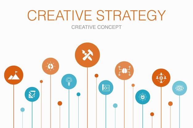 Kreative strategie infografik 10 schritte vorlage. vision, brainstorming, zusammenarbeit, projekt einfache symbole