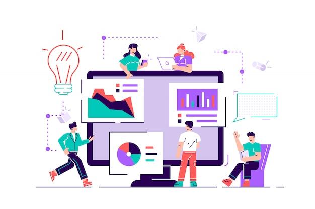 Kreative teamarbeit. die leute bauen ein geschäftsprojekt im internet auf. der bildschirm ist eine baustelle.