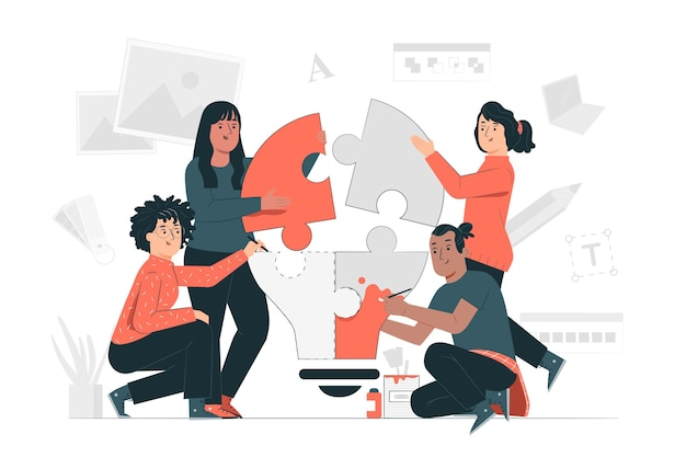 Kreative teamkonzeptillustration
