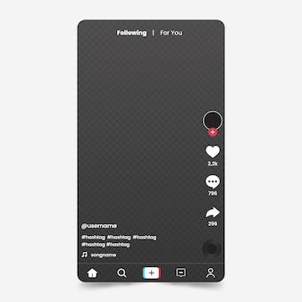Kreative tiktok app-oberfläche