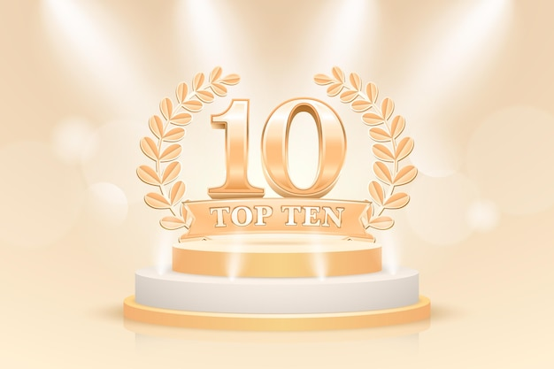 Kreative top ten best podium award Kostenlosen Vektoren
