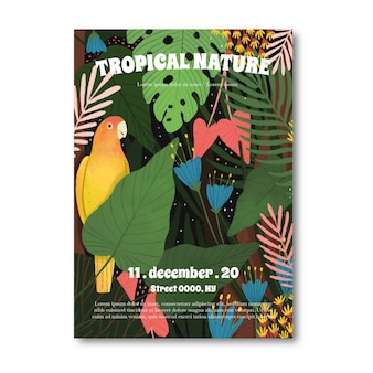 Kreative tropische naturplakatschablone