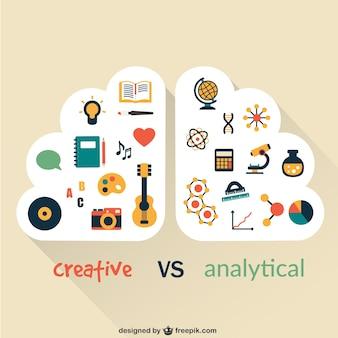 Kreative und analytische gehirn