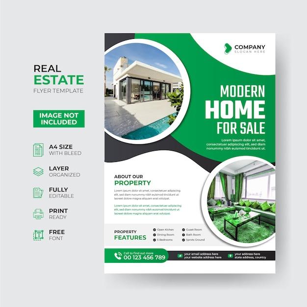 Kreative und moderne immobilien-flyer-vorlage