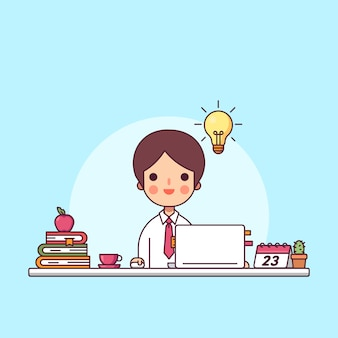 Kreative unternehmer bekommen die idee unter einer glühbirne