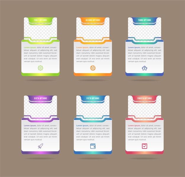 Kreative vektor-illustration der infografik-unternehmensvorlage auf hintergrund isoliert foto-platzhalter kunstdesign abstraktes konzept prozessdiagramm grafikelement mit rechteck-hauptform