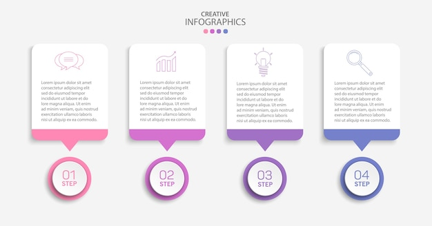 Kreative vektor-infografik-vorlage mit symbolen und 4 schritten