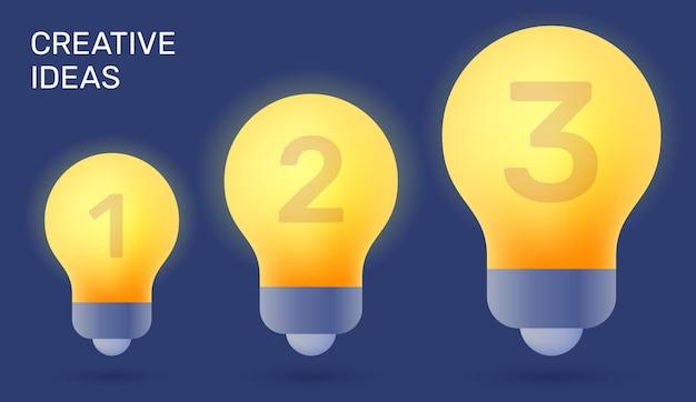 Kreative vektorgrafik von 3 stufen der gelben glühbirne des abschlusses auf dunklem hintergrund