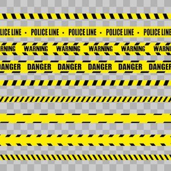 Kreative vektorillustration der schwarzen und gelben polizeistreifengrenze.