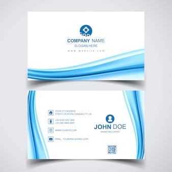 Kreative visitenkarte mit blauen wellen