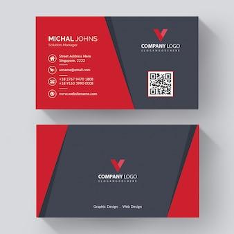 Kreative visitenkarte mit modernen mit roten details, kreative firmenvisitenkartenschablone mit modernen