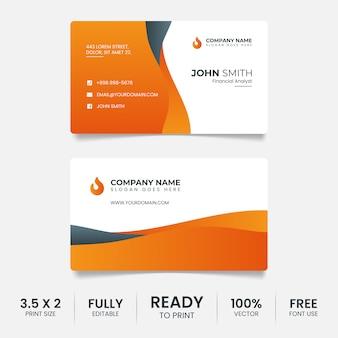 Kreative visitenkartenvorlage schwarz und orange