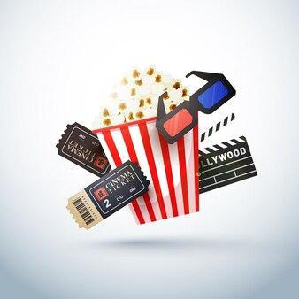 Kreative vorlage für kino poster, banner mit ticket, 3d-brille, schindel und popcor