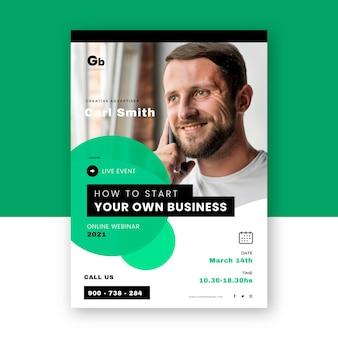Kreative webinar-flyer-vorlage mit foto