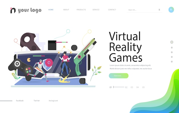 Kreative websiteschablonendesigns - virtuelle realität