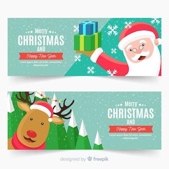 Kreative weihnachtsfahnen im flachen design