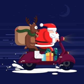 Kreative weihnachtsmann- und rentierillustration