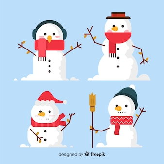 Kreative weihnachtsschneemannsammlung