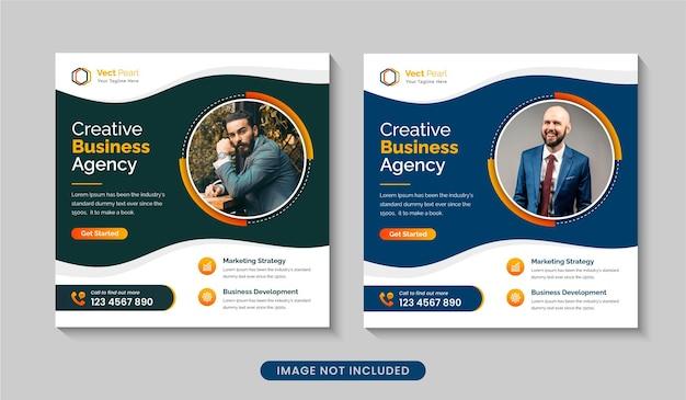 Kreative werbeagentur für social-media-beiträge oder bearbeitbare webbanner-designvorlage