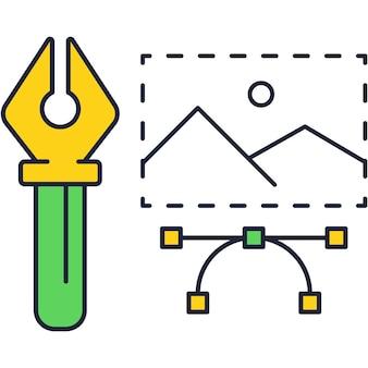 Kreative werkzeuge symbol liniendesign. web-kunst-vektor. umrisslogo für künstlerisches projekt des artwork-portfolios, website-kreativstudio, illustrator-programm