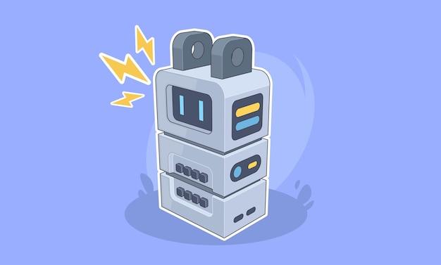 Kreative zeichentrickfigur des futuristischen roboters konzept der künstlichen intelligenz elektrischer roboter