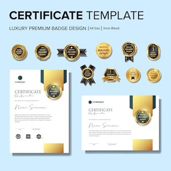 Kreative zertifikatvorlage mit ausweisvorlage