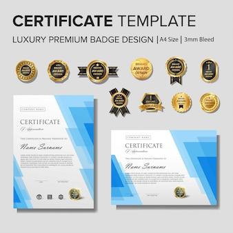 Kreative zertifikatvorlage mit goldenen details