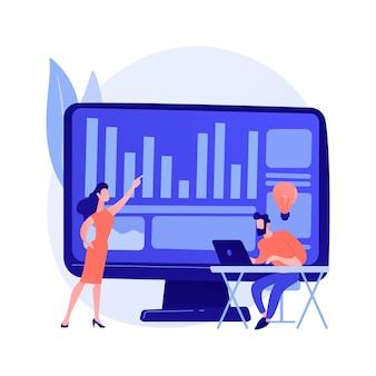 Kreative zusammenarbeit. programm entwicklung. erfolgreiche zusammenarbeit, kooperierendes brainstorming, effektive teamarbeit. kollegen diskutieren aufgabe