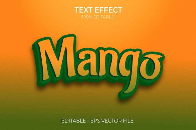 Kreativer 3d grüner mango-text-effekt premium-vektor