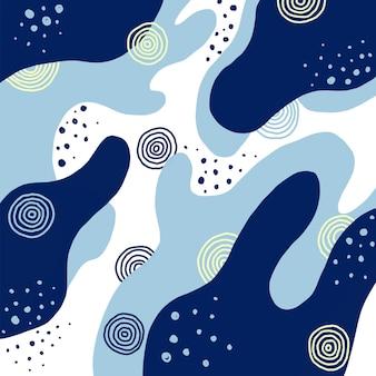Kreativer abstrakter blauer hintergrund des handabgehobenen betrages