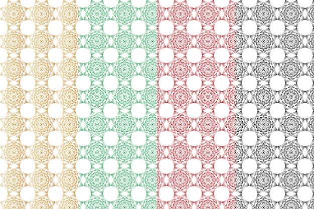 Kreativer abstrakter geometrischer nahtloser mandala arabesque pattern set