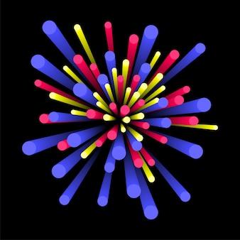 Kreativer abstrakter hintergrund mit bunten 3d elementen, burst oder explosionseffekt.