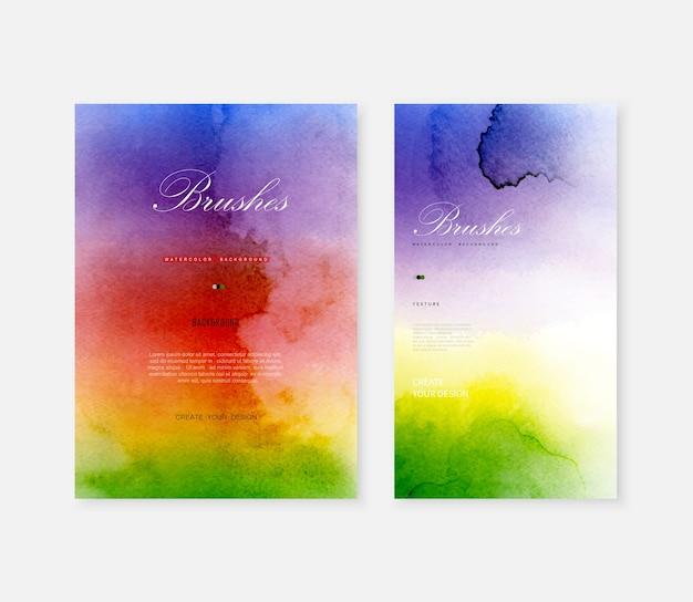 Kreativer abstrakter schablonenhintergrund gesetzt mit formpinsel hellen regenbogenfarbenaquarellflecken. Premium Vektoren