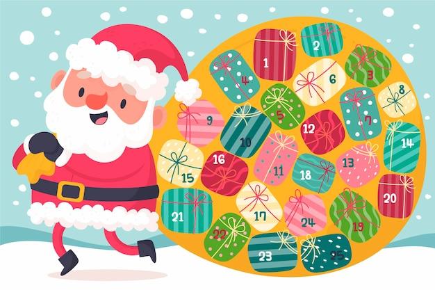 Kreativer adventskalender mit weihnachtsmann