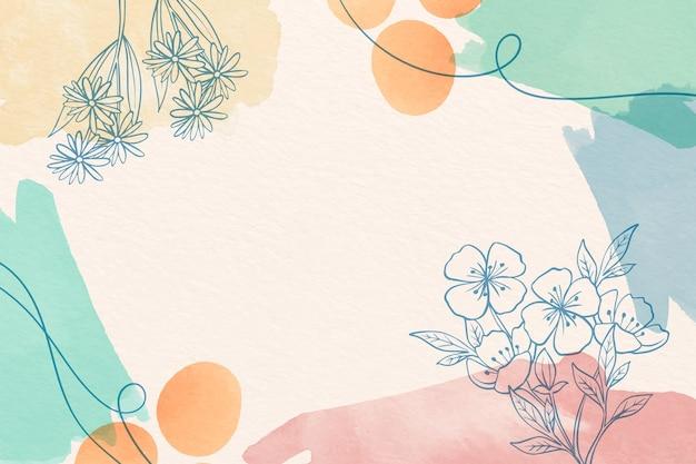 Kreativer aquarellhintergrund mit gezeichneten blumen