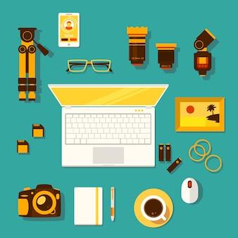 Kreativer arbeitsplatz des fotografen