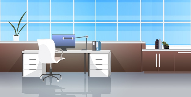 Kreativer arbeitsplatz leer kein menschenschrank mit möbeln modernes büro innenraum horizontal