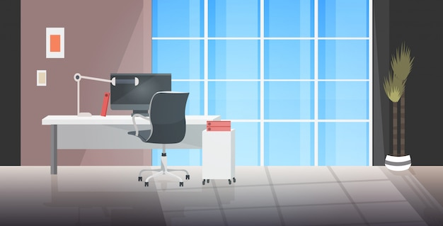 Kreativer arbeitsplatz leer kein menschenschrank mit möbeln modernes bürointerieur