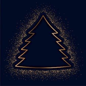Kreativer baum der frohen weihnachten gemacht mit goldenen scheinen