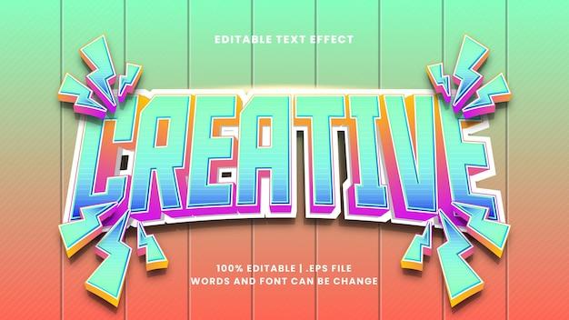 Kreativer bearbeitbarer texteffekt im modernen 3d-stil