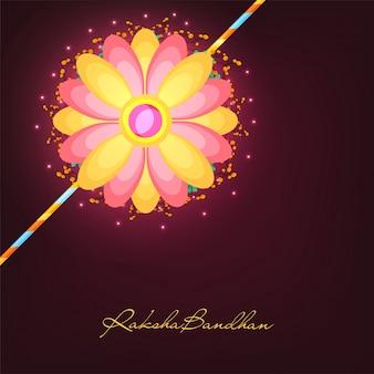 Kreativer blumen-rakhi-entwurf in den gelben und rosafarbenen farben für raksha bandhan feier.